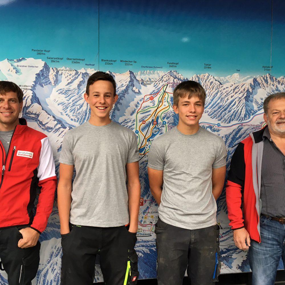 Lehrlinge, Bergbahnen Brandnertal, Thies, Kilian, Markus Gmeiner, Helmut Schedler